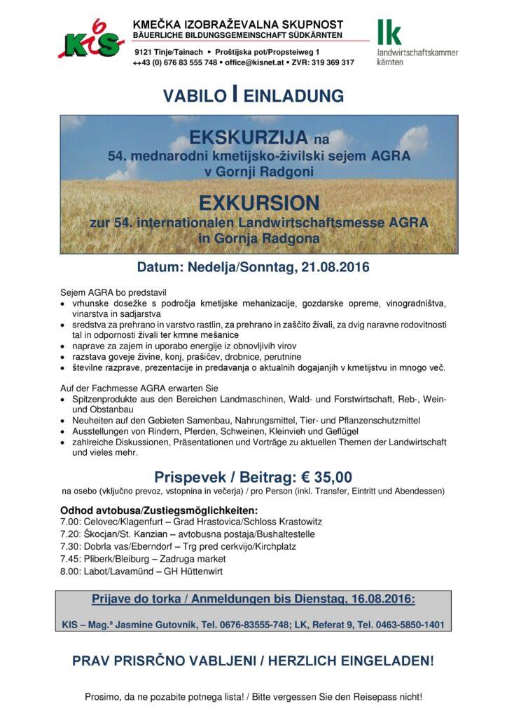 2016 Einladung zur Exkursion_Vabilo ekskurzija_Messe_sejem AGRA_Gornja R...(1)