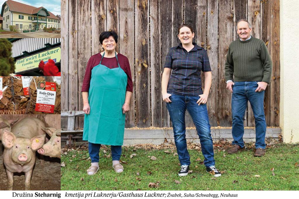 Družina Steharnig, kmetija pri Luknerju/Gasthaus Luckner, Žvabek, Suha/Schwabegg, Neuhaus